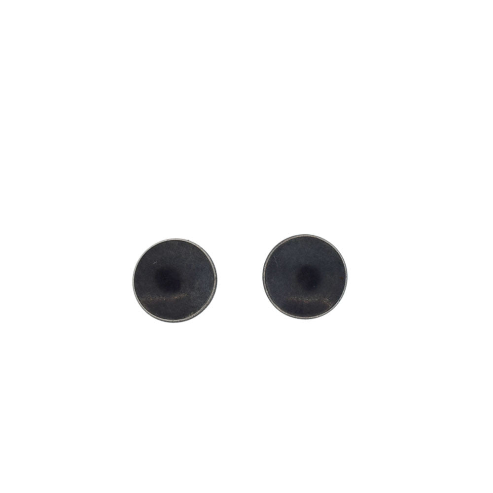 Tasi Black Dish Stud Earrings