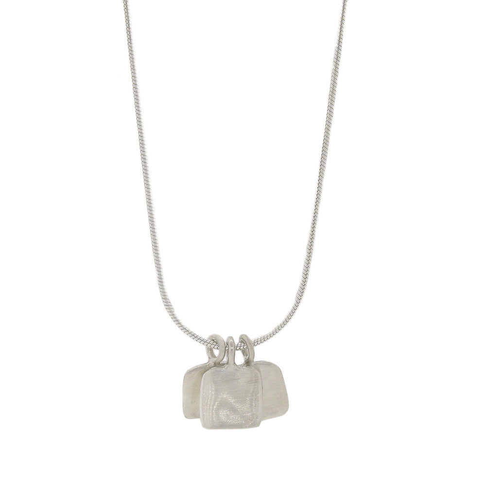 Three Square Brushed Sterling Silver Necklace