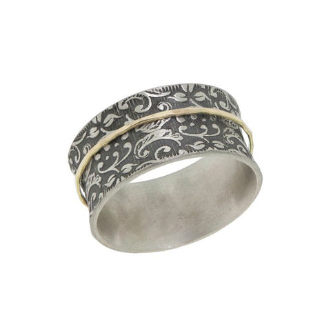 Antiqued Vine Ring in Silver with Gold Spinner