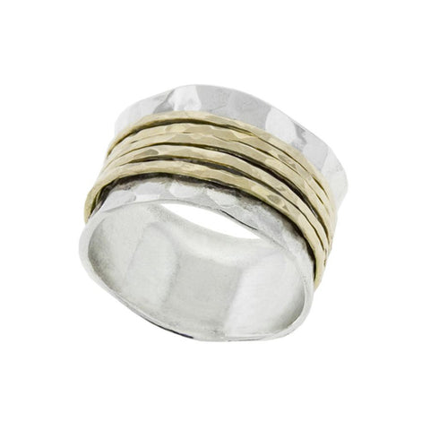 Hammered Silver Band with Gold Spinners
