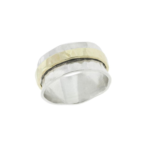 Hammered Silver Band with Gold Spinner