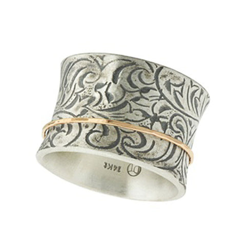 Antiqued Garden Ring in Sterling Silver with Rose Gold Spinner