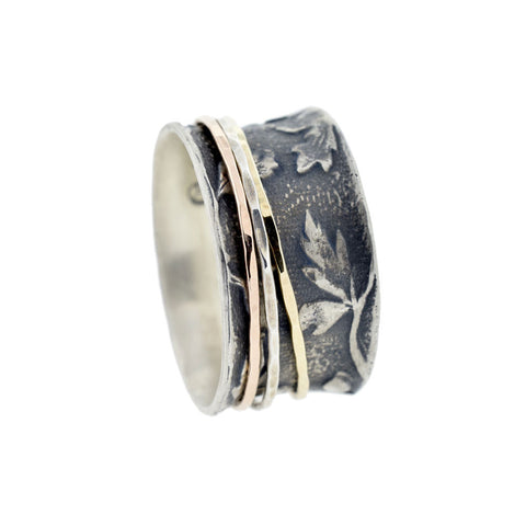 Antiqued Leaf Ring with Three Spinners
