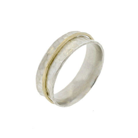 Hammered Band with Single Gold Spinner
