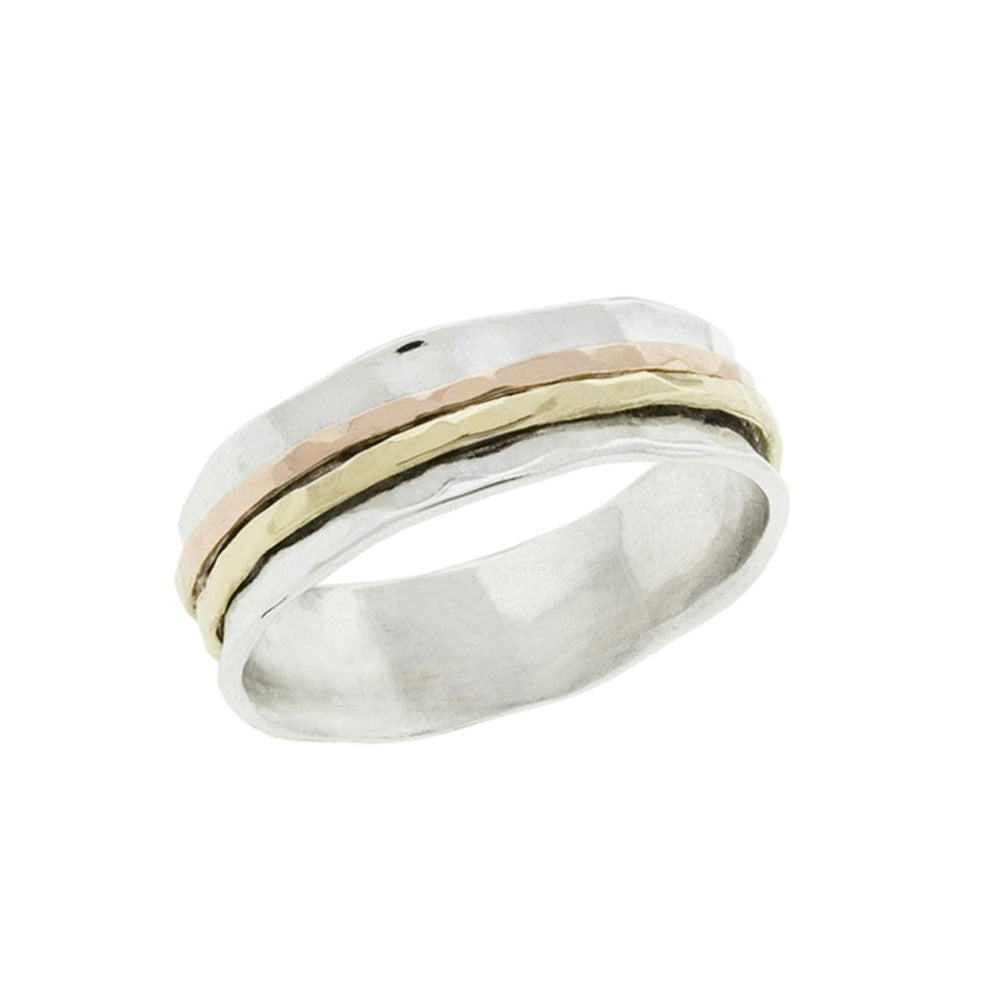 Two Tone Three Band Spinner Ring