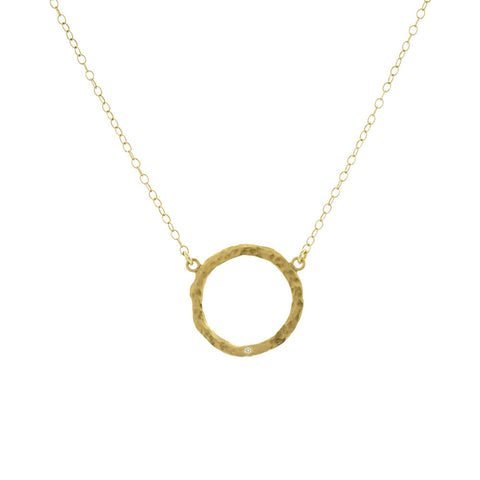 Victoria Cunningham Open Circle Necklace with Diamond