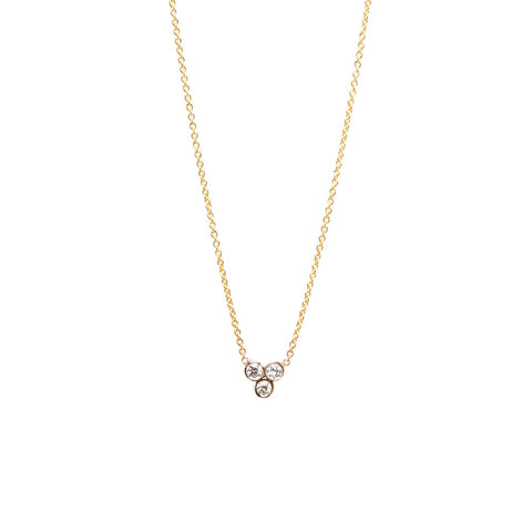 Triple Diamond Necklace in 14K Gold