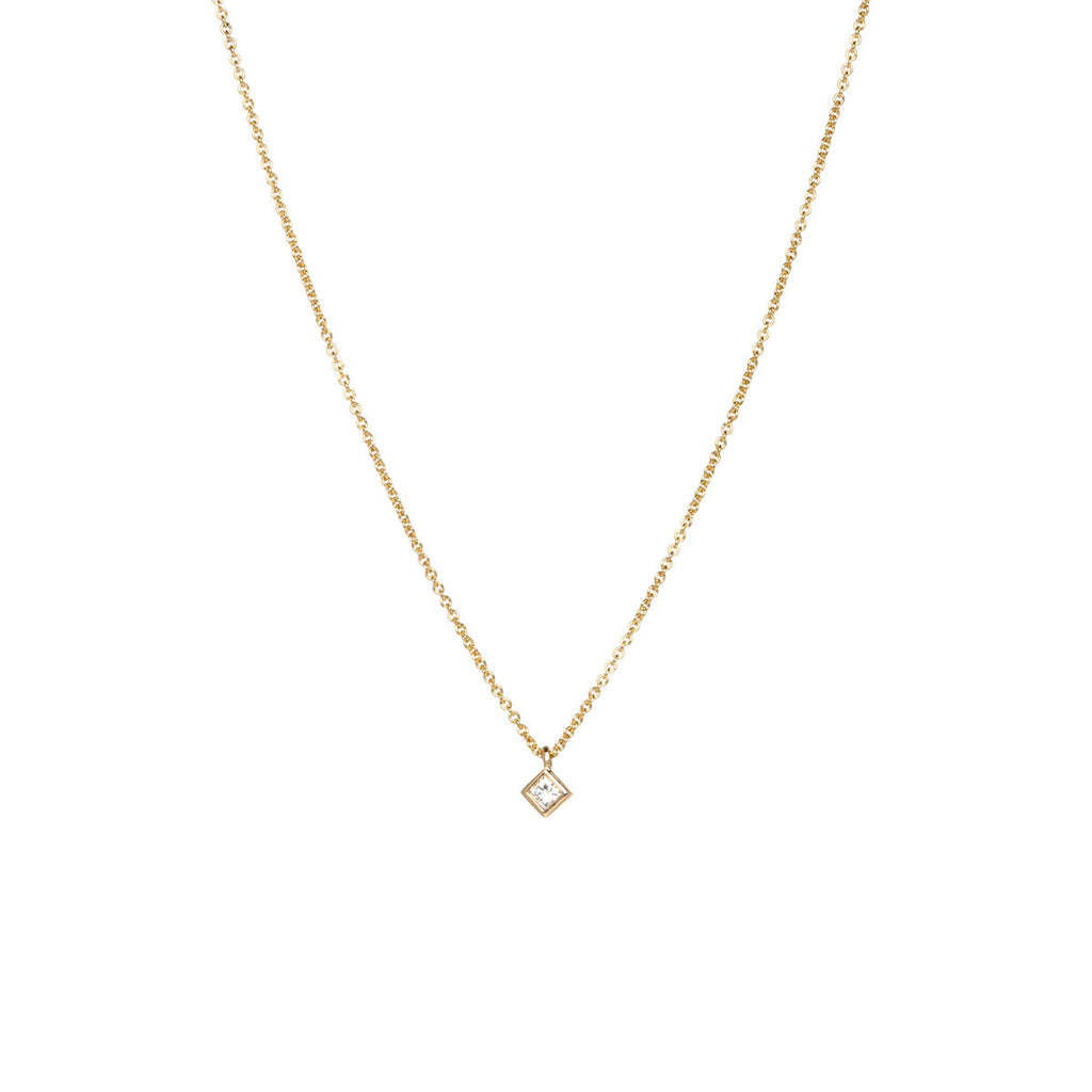 Zoe Chicco 14K Gold and Princess Cut Diamond Necklace