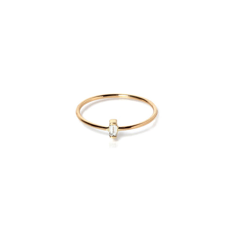 Vertical Baguette Diamond Ring in 14K Gold