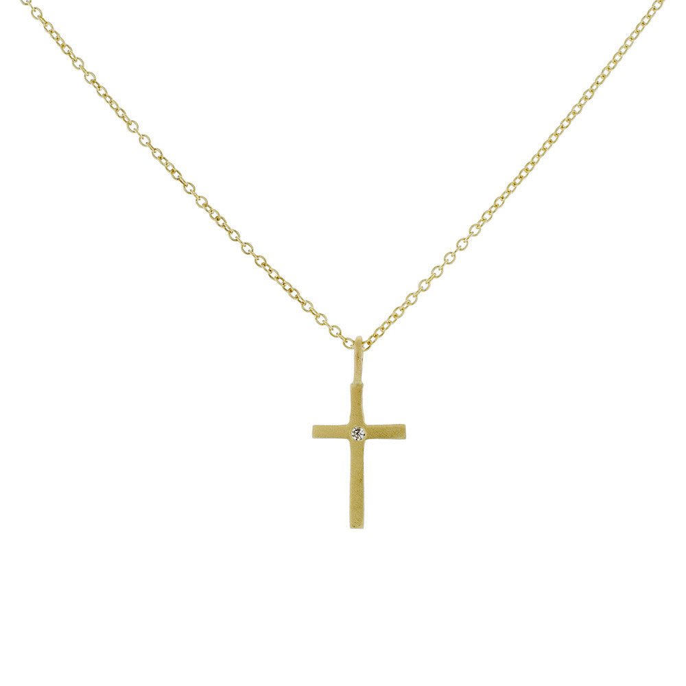 Zoe Chicco 14K Gold Cross with Diamond