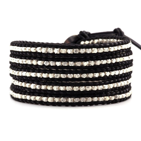 Chan Luu Sterling Silver and Black Leather Wrap Bracelet