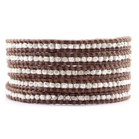 Chan Luu Sterling Silver and Brown Leather Wrap Bracelet