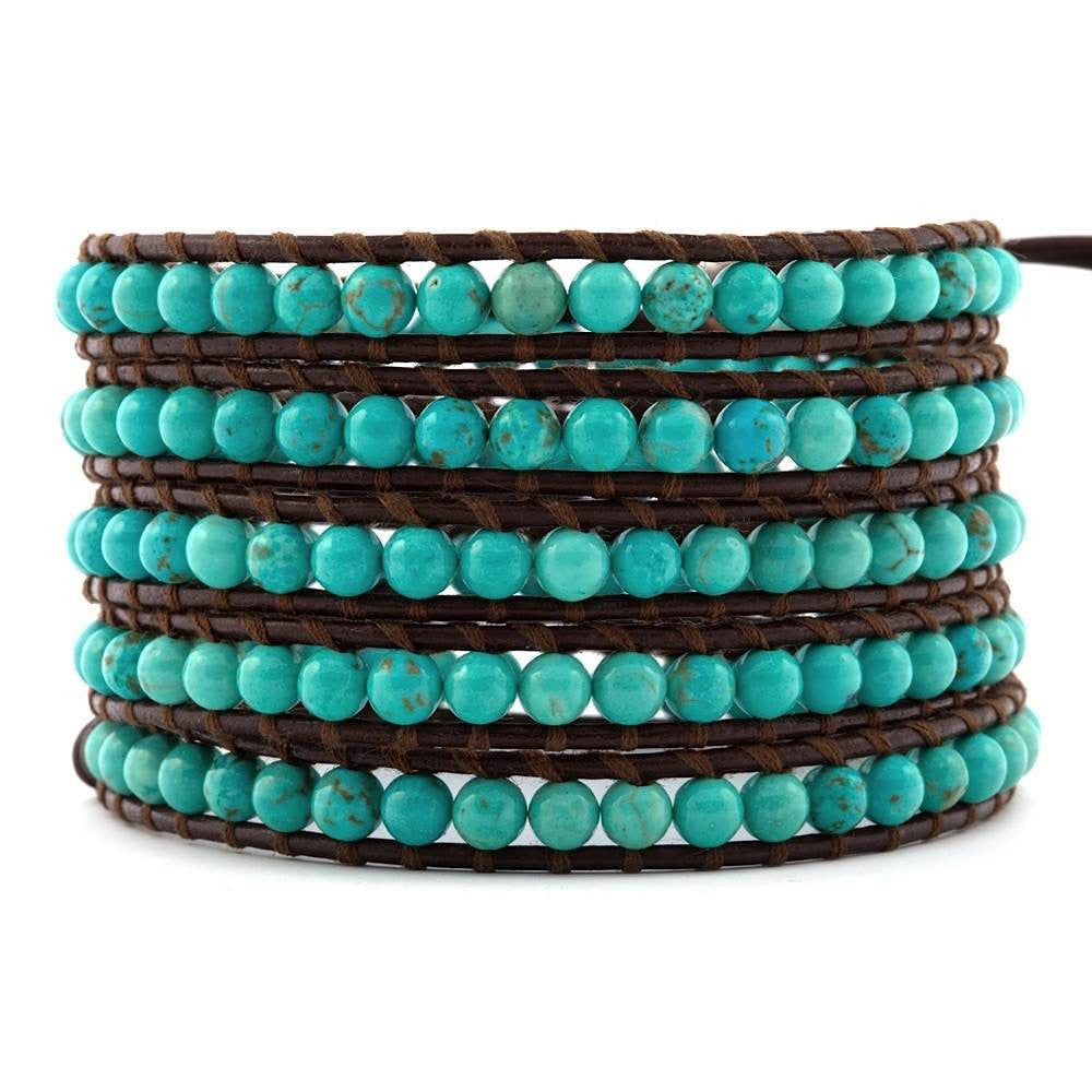 Chan Luu Turquoise and Brown Leather Bracelet