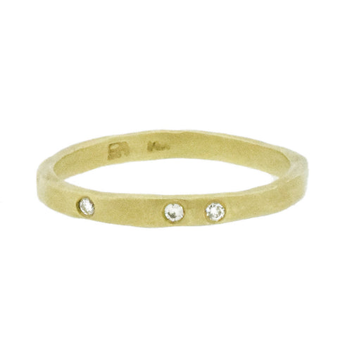 Three Diamond Ring in 14K Gold