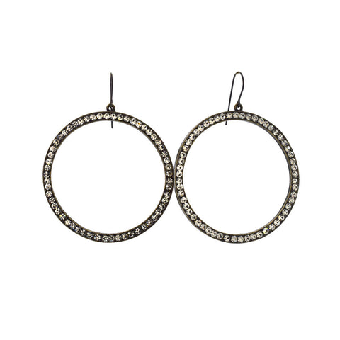 Large Open Circle Earrings with Swarovski Crystals