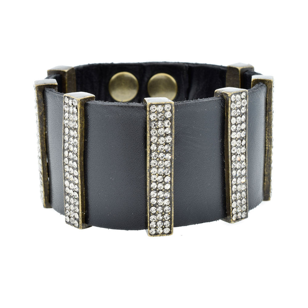 Multi-Bar Bracelet with Swarovski Crystals and Black Leather