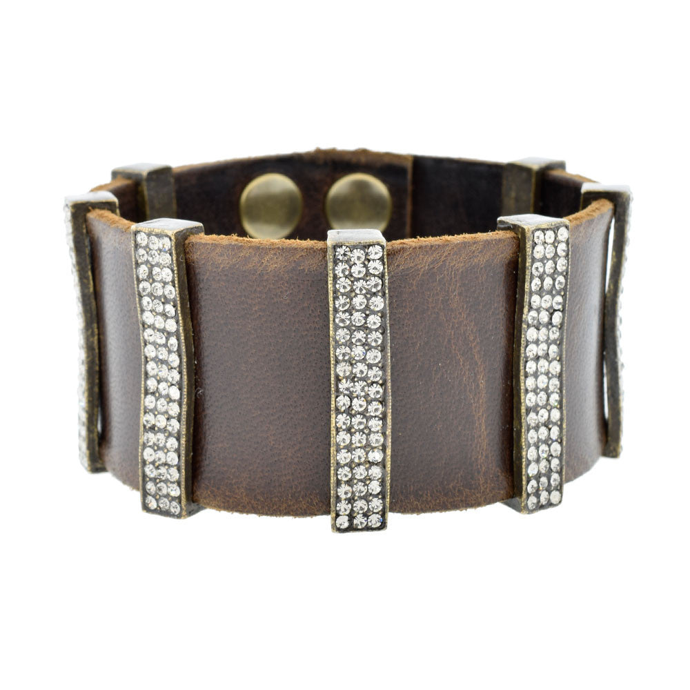 Multi-bar Bracelet in Brown Leather with Swarovski Crystals