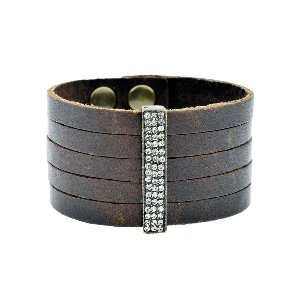 Single Bar Bracelet on Brown Leather