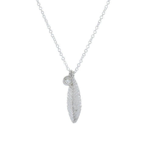 Small Rigid Leaf and Diamond Necklace