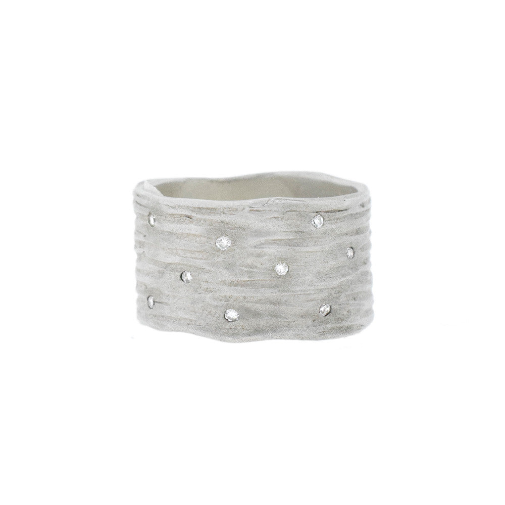 Wide Bark Band with Diamonds