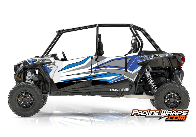 2017 Polaris RZR XP 4 1000 EPS Four Door Factory Graphic Kit White Lightning with Reflex Blue