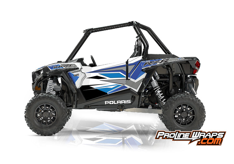 2017 Polaris RZR XP 1000 EPS Two Door Factory Graphic Kit White Lightning with Reflex Blue