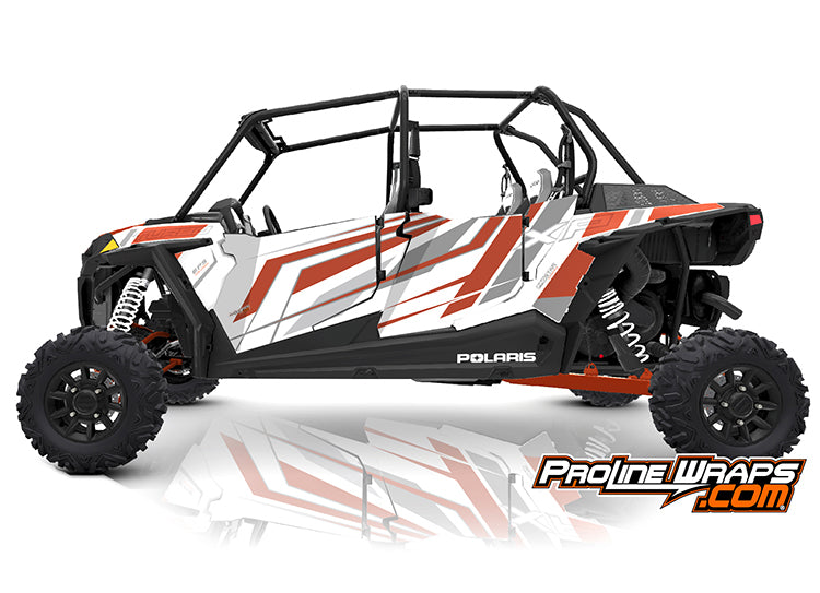 2019 Polaris RZR XP4 Turbo EPS Four Door Factory Graphic Kit Matte White Pearl with Orange Rust