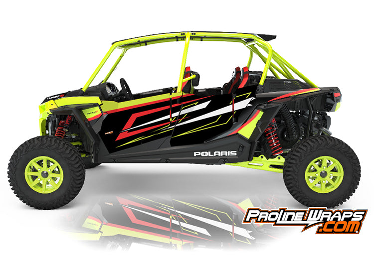 2021 Polaris RZR XP4 Turbo S Four Door Factory Graphic Kit Lifted Lime