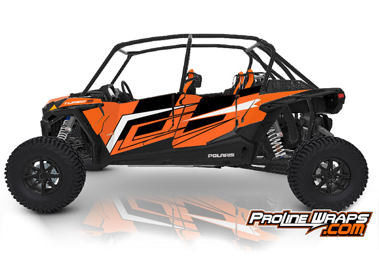 2021 Polaris RZR XP4 Turbo S Four Door Factory Graphic Kit Orange Madness