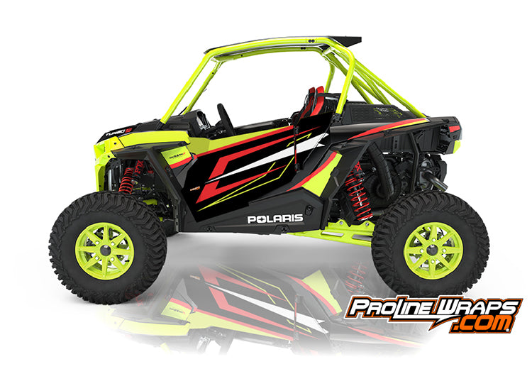 2021 Polaris RZR XP Turbo S Two Door Factory Graphic Kit Lifted Lime