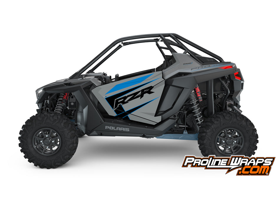 2021 Polaris RZR Pro XP 2- Matte Titanium Metallic- Factory Aluminum Doors Graphics Kit