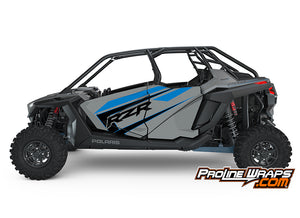 2021 Polaris RZR Pro XP 4- Matte Titanium Metallic- Factory Aluminum Doors Graphics Kit