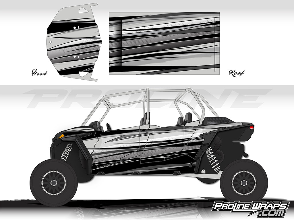 Proline Wraps Series Graphics - Graphite - Polaris RZR XP 4 1000