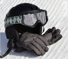 snow sports goggles helmet gloves