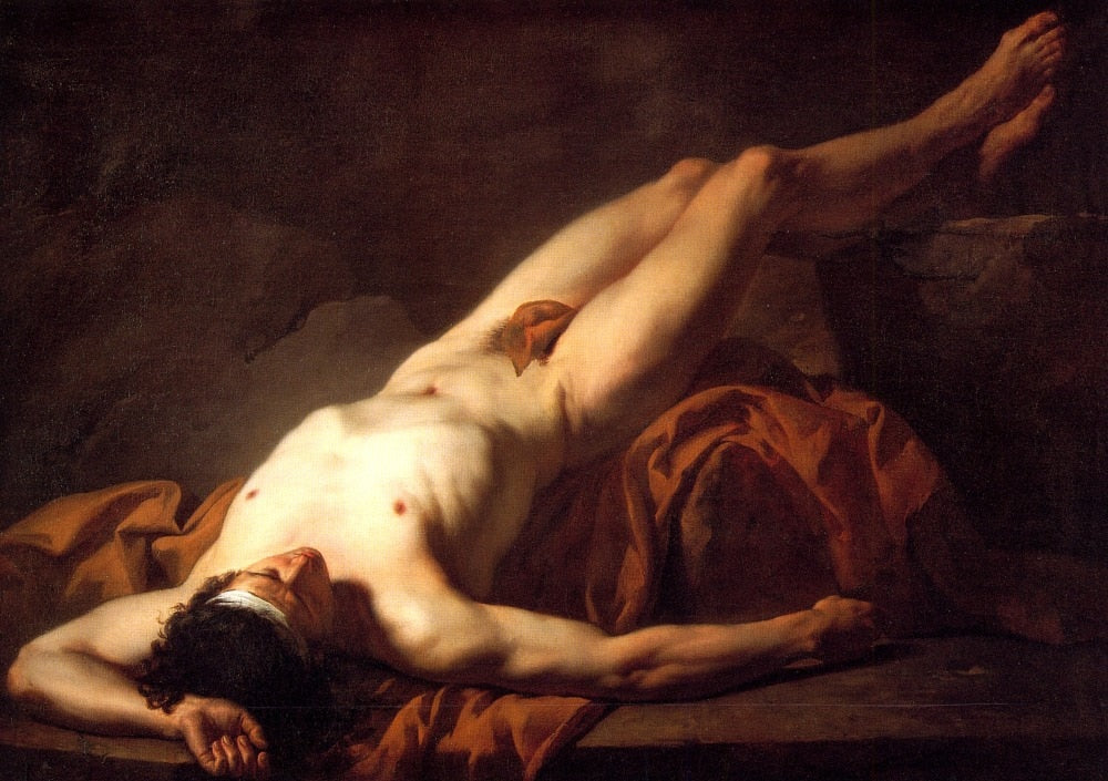 100% handmade high quality Oil Painting Reproduction on Linen Canvas,male-nude-known-as-hector-1778 by jacques Louis David - Smoulder Products