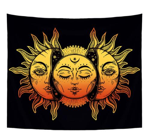 Smiry Mandala Indian Style Short Plush Tapestry Religion Sun Print Hanging Yoga Mat 148X130cm Decorative Bedroom Office - Smoulder Products