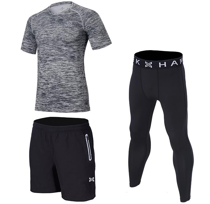 Sportswear Men's Three-piece Running Suit Sportswear Basketball Training Fitness Compression Tight Shirts+Pants+Shorts 3 Pcs Set - Smoulder Products