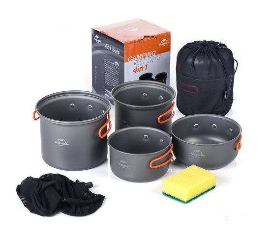 Four-in-one set of pots, tableware, picnic, barbecue, outdoor camping pots and cookers - Smoulder Products