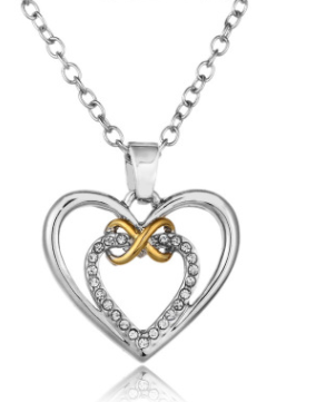 Foreign trade hot fashion rhinestone heart-shaped bow necklace female sweater chain jewelry factory price direct sales