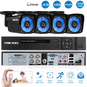 4CH 1080N Security Camera System H.264 DVR With 4X 2MP Outdoor Weatherproof Audio Record IP Cameras CCTV Kit Video Surveillance - Smoulder Products