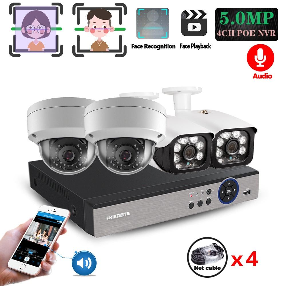 5MP H.265 4CH POE NVR Kit Outdoor Waterproof IP CCTV Video Security Surveillance System Infrared Night Vision CCTV Cameras Set - Smoulder Products