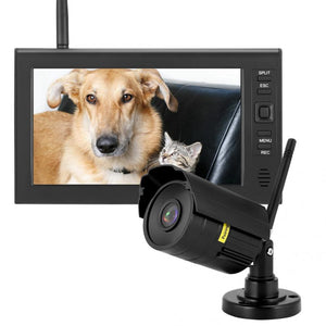 7 Inch LCD Wireless WIFI 4CH Security Monitor System Display+Camera 1pc IR Cameras+TF Card 640 x 480 - Smoulder Products