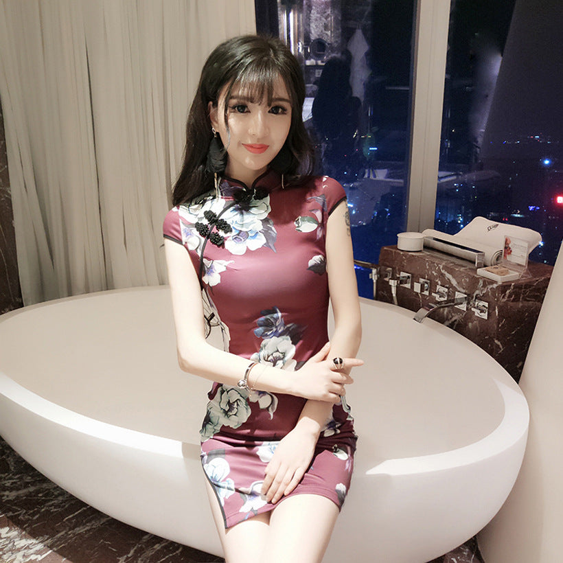 Sexy short split dress cheongsam dress - Smoulder Products