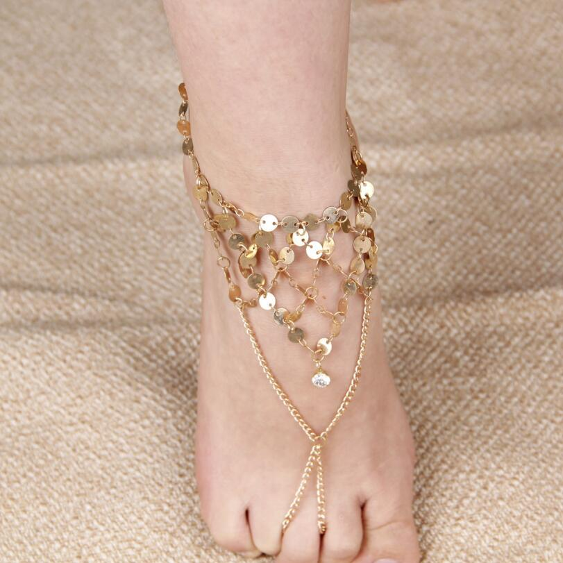 Retro exaggerated Dance Yoga sequins Anklet multi tassel Fingerless Anklet - Smoulder Products
