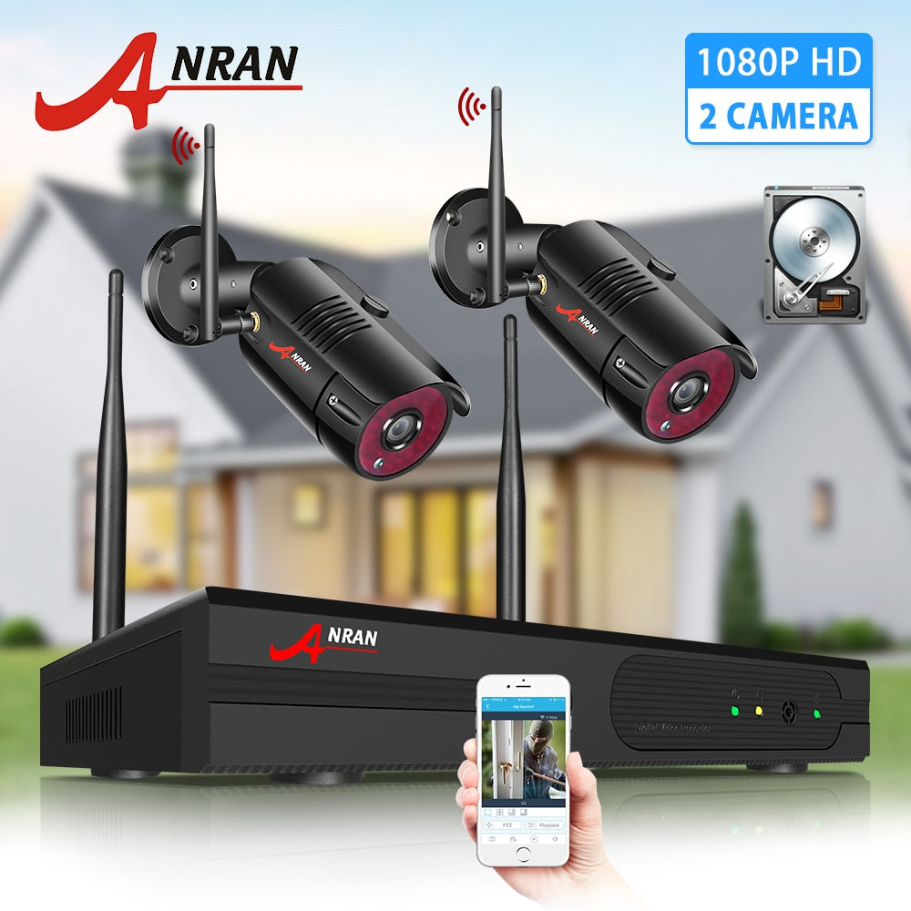 ANRAN 2CH Security System 1080P HD Video Surveillance Wireless NVR Kit Outdoor IP Camera System IP66 Waterproof Night Vision - Smoulder Products