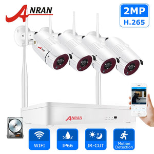 ANRAN Wireless 2MP CCTV Wireless System NVR Kit Outdoor P2P Wifi IP Security Camera Set Video Surveillance Kit Night Vision - Smoulder Products