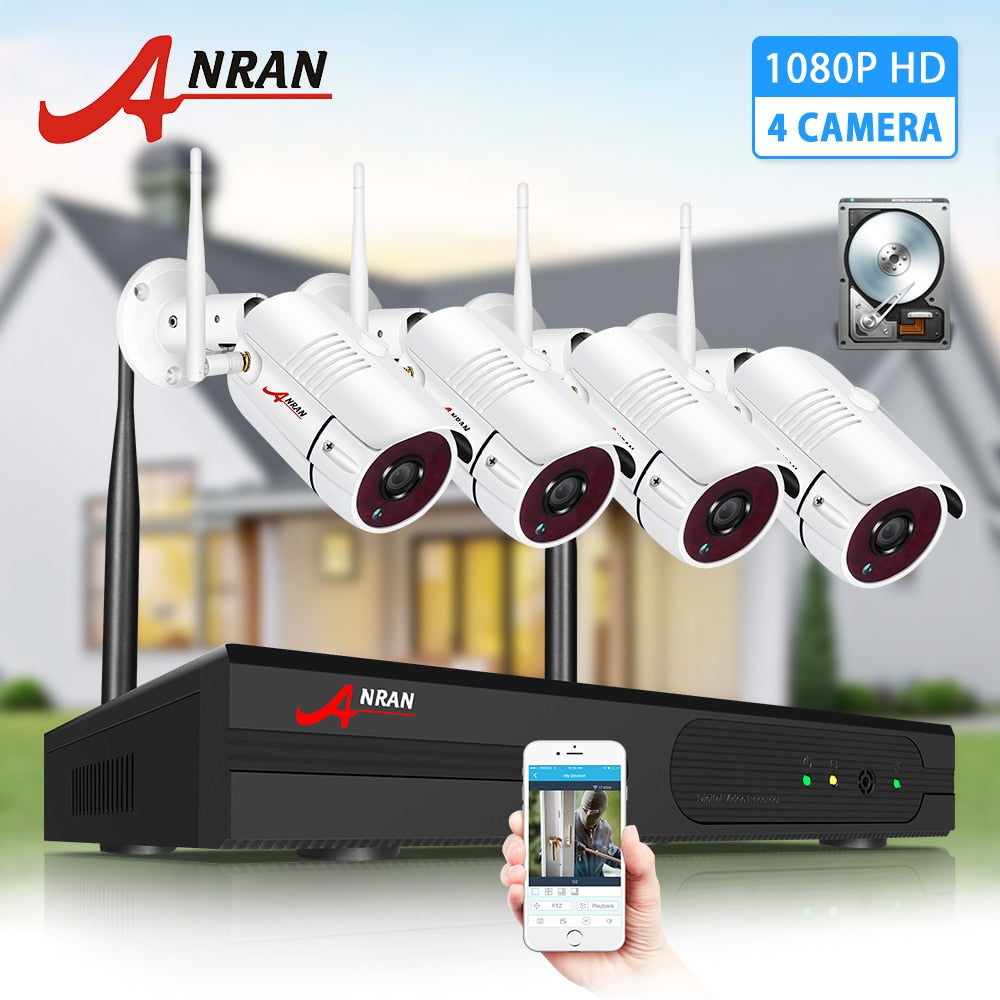 ANRAN Wireless CCTV System 1080P 2MP Video Surveillance Kit Outdoor Weatherproof Security Camera NVR Kits Night Vision IR Cut HD - Smoulder Products