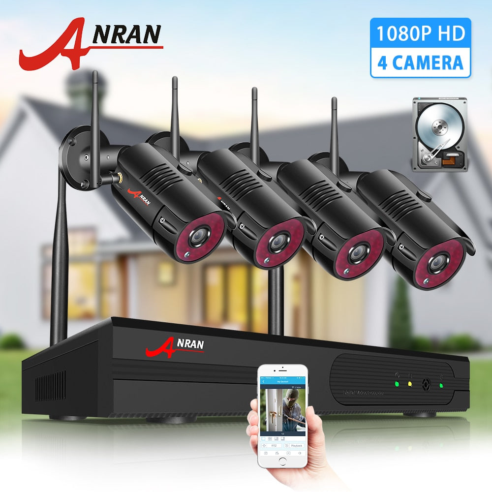 ANRAN cctv 2MP Security Camera System Kit Wireless Video Surveillance System Waterproof Outdoor Camera Night Vision HDD NVR kit - Smoulder Products