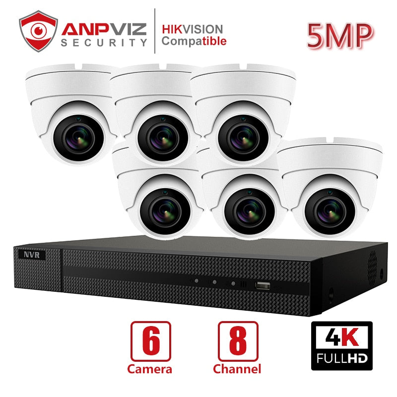 Anpviz 8CH 4K NVR 5MP White/Gray POE IP Camera Kit ONVIF Home/Outdoor Security Systems Kits CCTV Video Surveillance NVR Kits - Smoulder Products