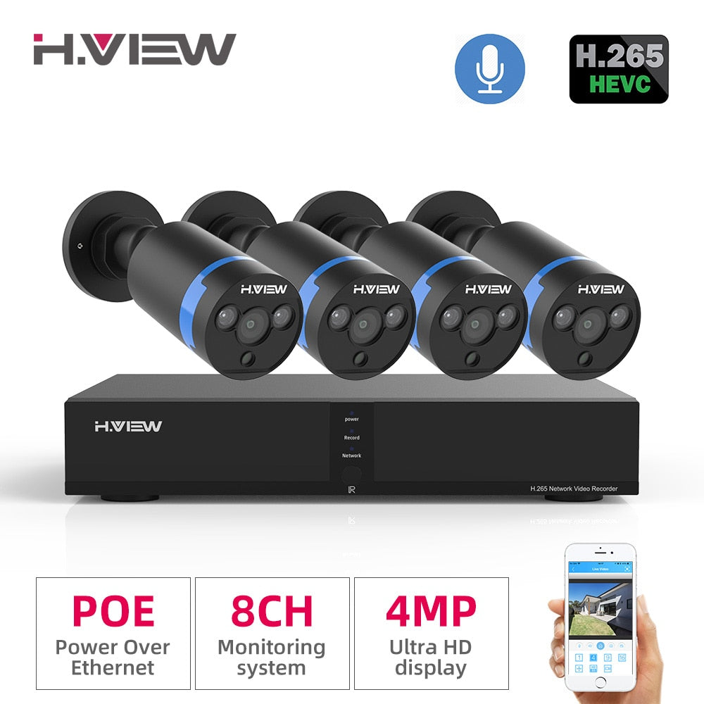 H.View Video Surveillance poe ip camera Kit 4MP cctv camera Security System 8CH Outdoor Audio Record H.265 nvr camera Set - Smoulder Products